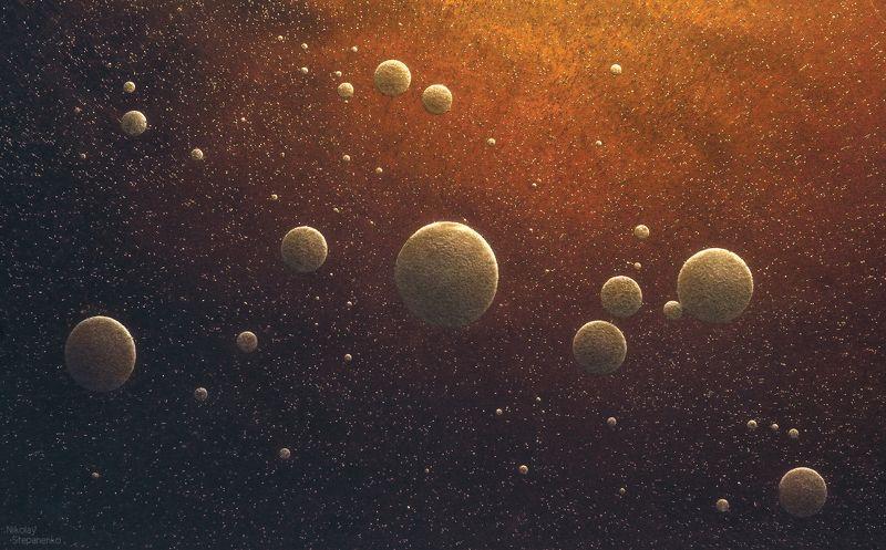 пузыри, замерзшая вода, болото, космос, планеты Микрокосмосphoto preview