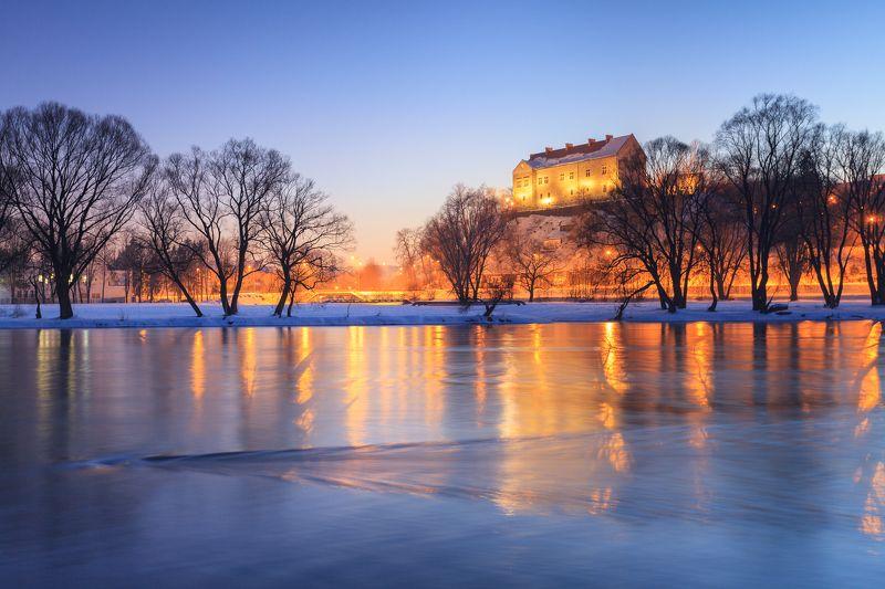 sanok, castle, poland, night, sky, river, san, Royal Castle in Sanokphoto preview
