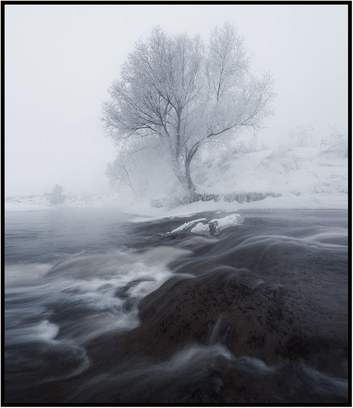 зима, река, утро, пейзаж \