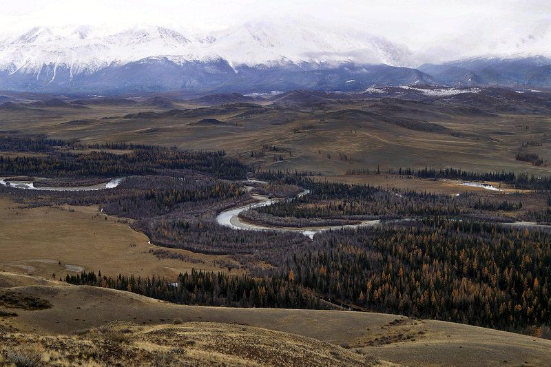 природа  алтай горы облака пейзаж путешествие тени река чуя степь Река Чуя с видом на Курайскую степь...photo preview