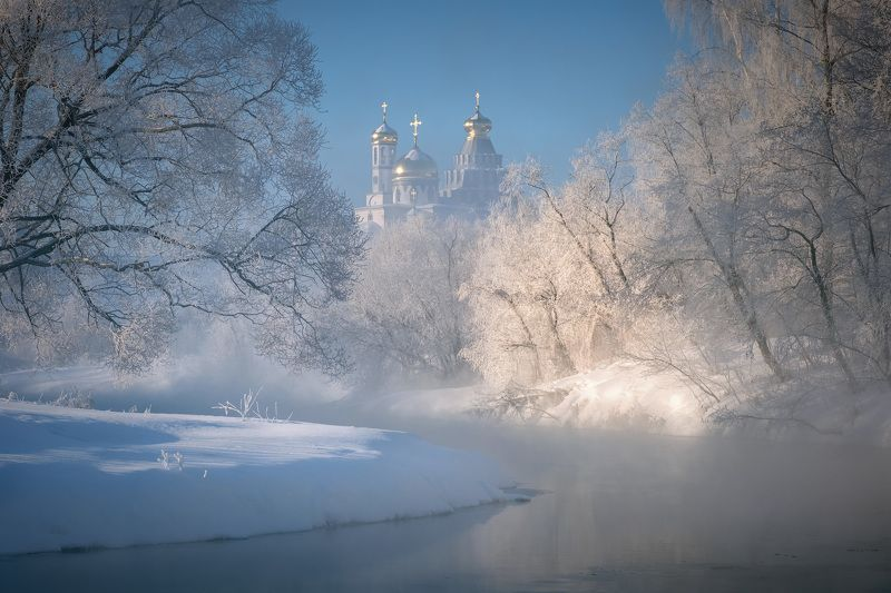 зима, мороз, истра, река, монастырь, пар, туман, деревья, снег Февральский мороз над Истройphoto preview