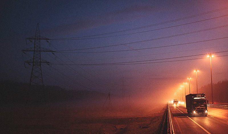Дорога, КАД, Ночь, Пейзаж, Петербург, Питер, Санкт-петербург, Свет, Спб, Туман, Фонари Ночной дорогой домойphoto preview