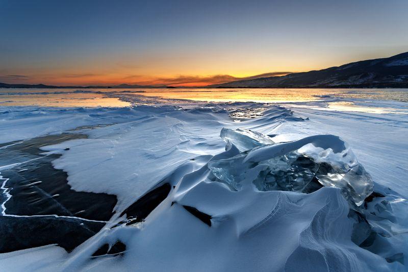 байкал, зима, лед, закат, снег, вечер Байкал зимойphoto preview