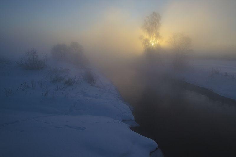 утро, рассвет, река, истра, зима Рассвет на Истреphoto preview