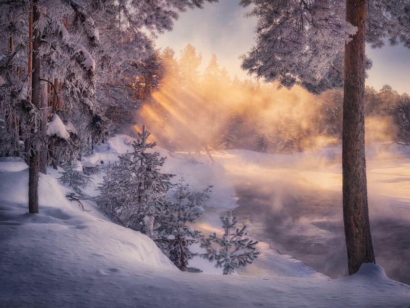 река, зима, солнце, туман Гуляло солнце по рекеphoto preview