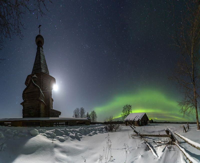 деревня, северное сияние, нациаональный парк кенозерье, луна, ночь, звезды, архангельская, русский север Северная ночьphoto preview