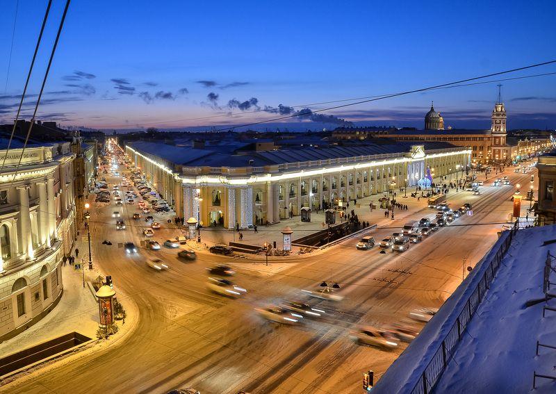 город, архитектура, питер, вечер, спб, зима, снег Огни ночного города.photo preview