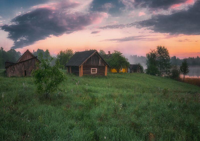 landscape,sunrise,lake,fog,farm,clouds,colours,summer,morning Pakalni lakephoto preview