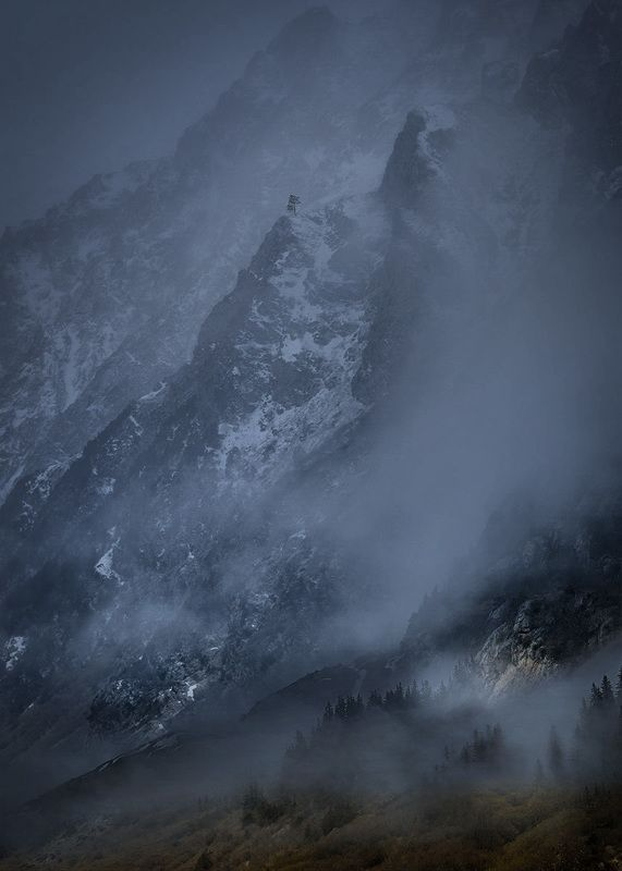 горы, природа, кбр, туман,зима, кавказ, ***photo preview