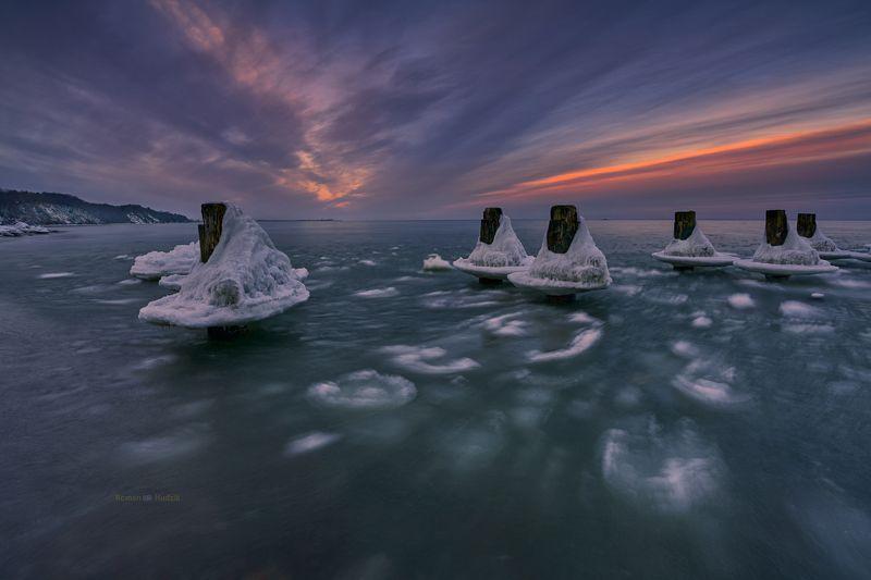 gdynia, poland, landscape, sea, winter, sunset, snow, water, ice, sky Gdynia - Babie Doły. фото превью