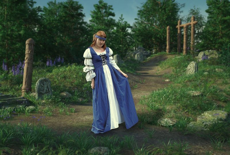 девушка, поле, скульптуры Славянкаphoto preview