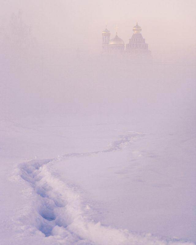 природа, река, пейзаж, зима, утро Тропа к храмуphoto preview