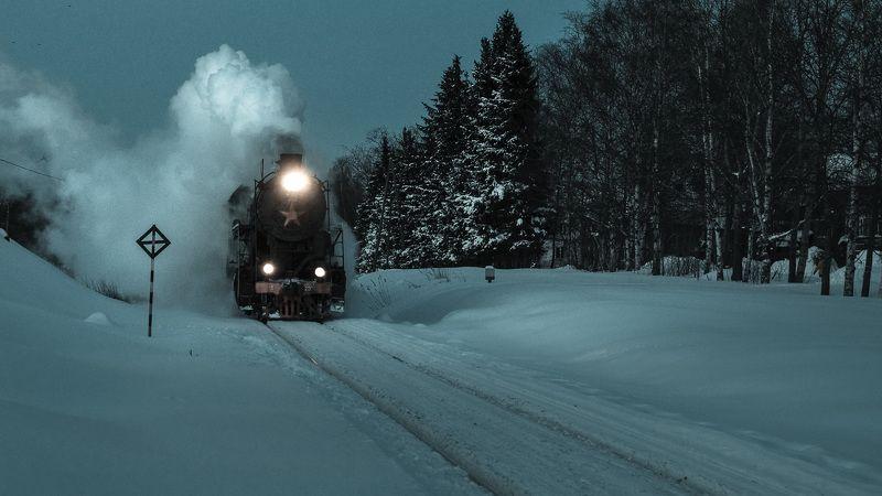 зима, карелия, паровоз, ретропоезд, сортавала, снег, ночь Ночной экспресс.photo preview