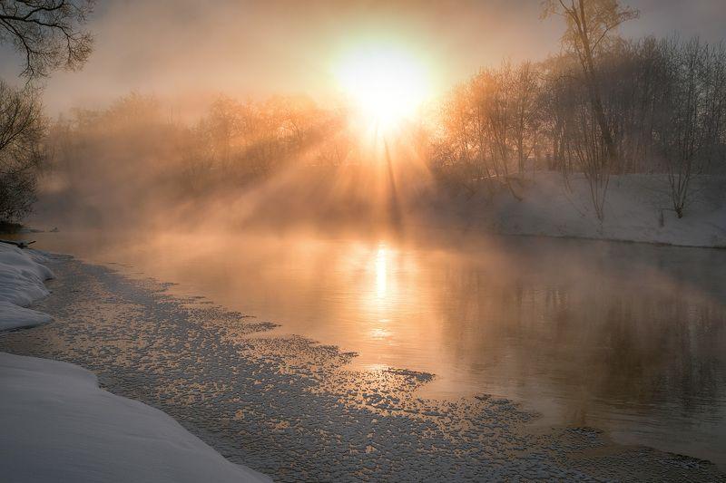зима, мороз, истра, река, солнце, пар, туман, деревья, снег Мороз и солнцеphoto preview