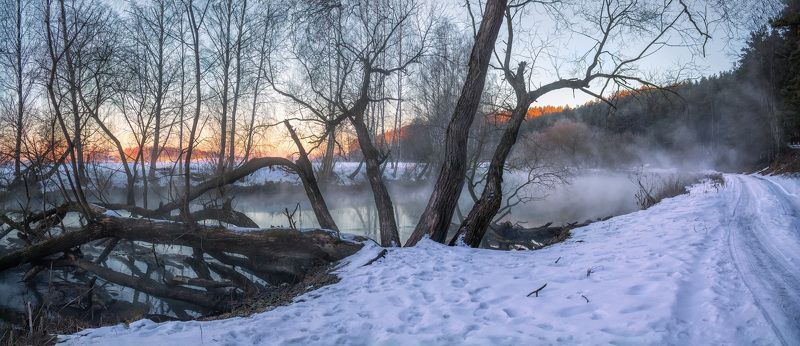 зима, рассвет, река,дымка, лес, панорама, Дымка над рекойphoto preview