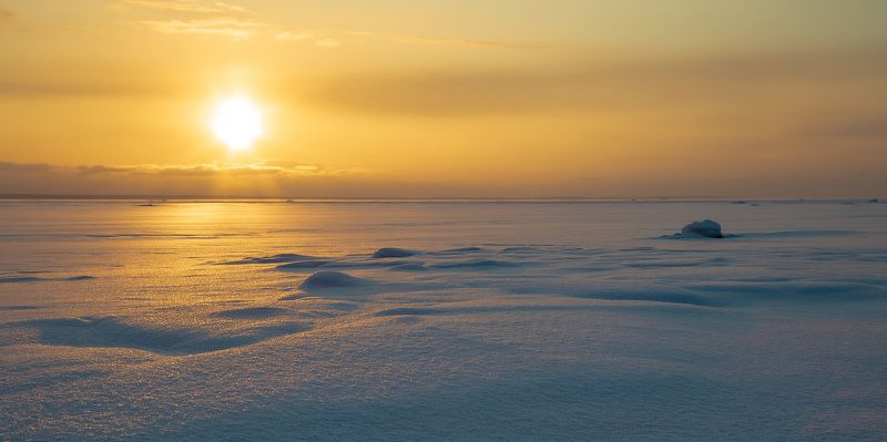 зима, вечер, берег, залив, снег, закат Февральский закатphoto preview