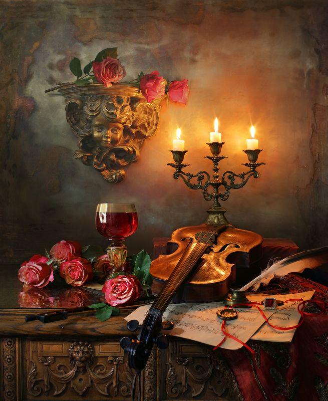 скрипка, музыка, свечи, розы, музыка Натюрморт со скрипкой и свечамиphoto preview