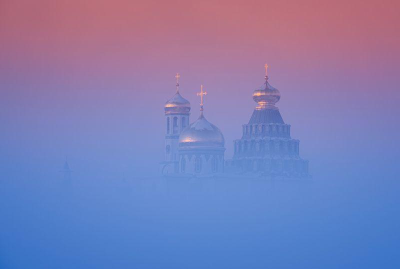 зима, рассвет, утро, пейзаж, истра Парящий в туманеphoto preview
