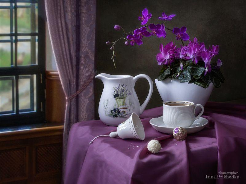 натюрморт, чайный столик, цветы, орхидея, цикламен Утреннее чаепитиеphoto preview