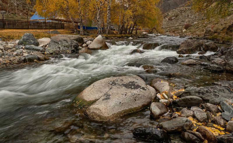 алтай, ильгумень., осень, река, мост. У быстрой реки .photo preview