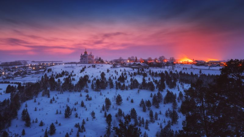 озеро, горы, лес, природа, закат, рассвет, красота, приключения, путешествие, облака Магия закатаphoto preview