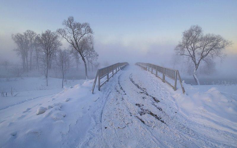 зима, утро, мост, истра Истра. Зимний пейзаж с мостомphoto preview