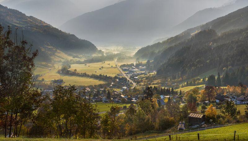 альпы, австрия, рассвет, утро, деревня, долина, горы, Утром в Альпийской долине. Австрия.photo preview
