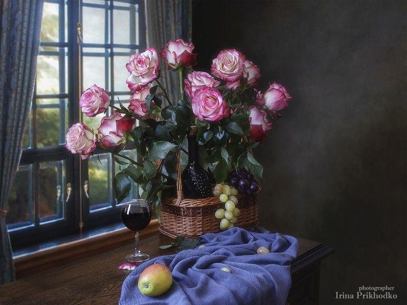 натюрморт, художественное фото, фотокартина, букет, цветы. розы, фрукты, вино, интерьер С любовьюphoto preview