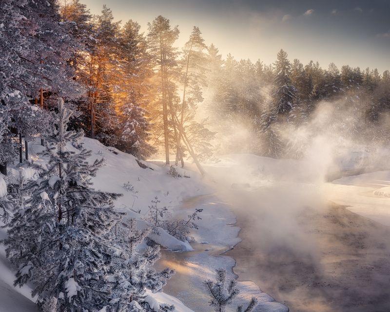 река, туман, зима Танец светаphoto preview