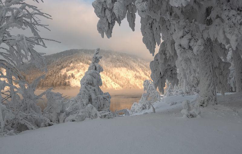 енисей, мороз, закат, берег. Сибирская сказка.photo preview