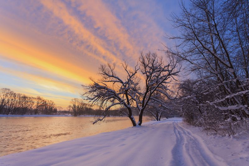 morning, light, sunrise, winter, frozen, sky, colors, river, San Riverphoto preview