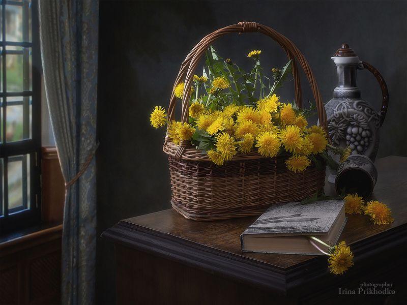 натюрморт, весна, художественное фото, цветы, одуванчики, настроение, винтажный Вино из одуванчиковphoto preview
