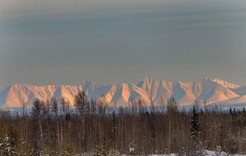горы,урал,закат,зима,печора,коми,север,путешествия, Приполярный Уралphoto preview