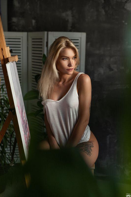 portrait, sensual, painter, girl, blonde, beauty, natural light, nikon, woman, tattoo, people Painterphoto preview
