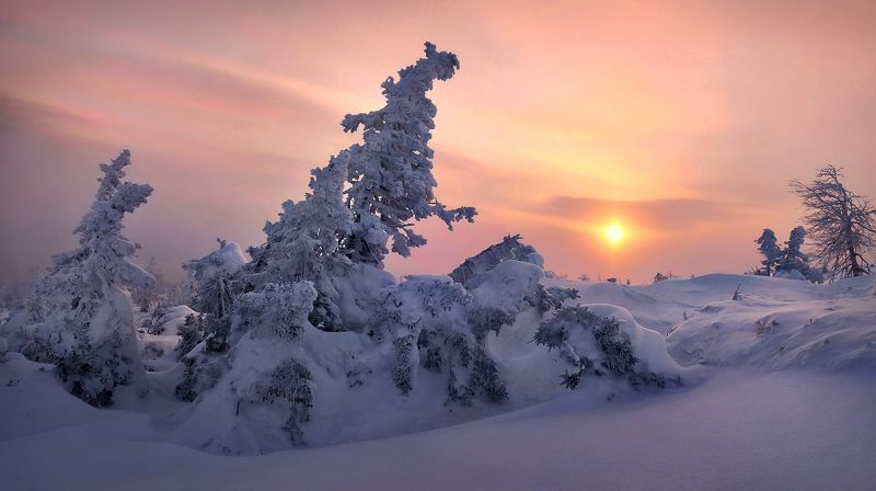 урал, зима, гух, рассвет На Главном Уральском...photo preview