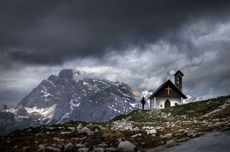 landscape nature scenery sunset travel outdoor mountain peaks chapel church clouds italy dolomites Moments of eternityphoto preview