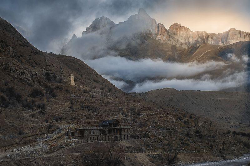 горы, природа, кбр, зима, рассвет, кавказ, башни, Верхняя Балкарияphoto preview