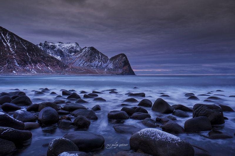 landscape, seascape, winter, nature, sea, rock, cloud, long exposure Unstad beachphoto preview