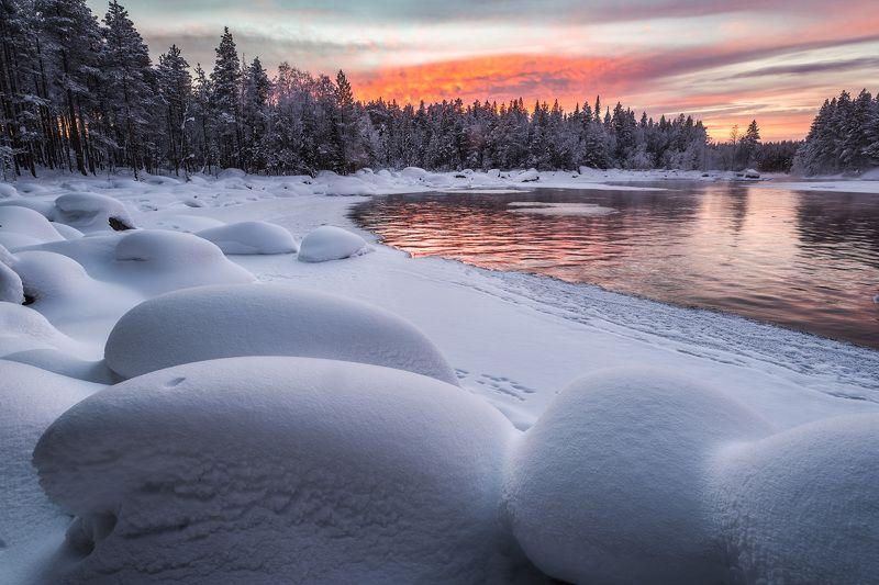 закат, река, снег, заполярье, колвица Зефиркиphoto preview