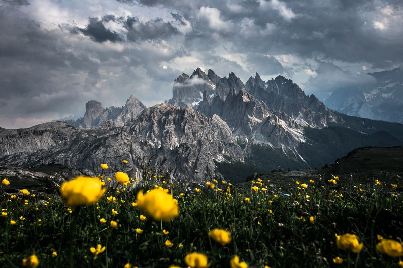 mountains, scenery, nature, landscape, peaks, italy, dolomites Tre Cime di Lavaderophoto preview