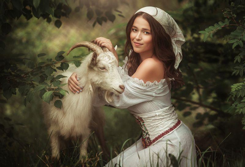деревня, коза, девушка, молоко,  Кровь с молокомphoto preview