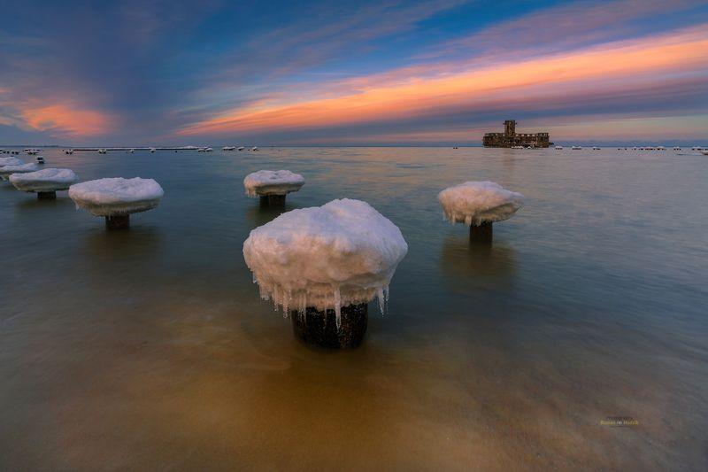 Baltic Sea, sea, sunset, clouds, landscape, water, winter, Baltic mushrooms.  фото превью