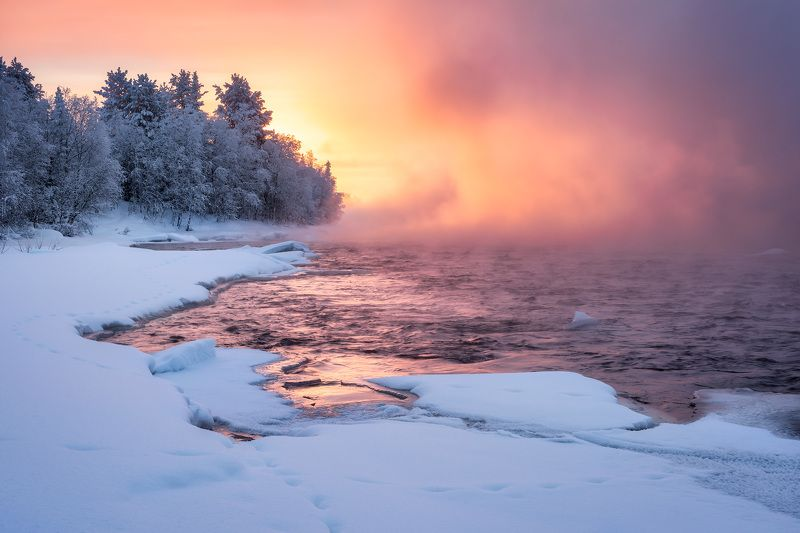 рассвет, заполярье, пиренга ...море синее зажглиphoto preview