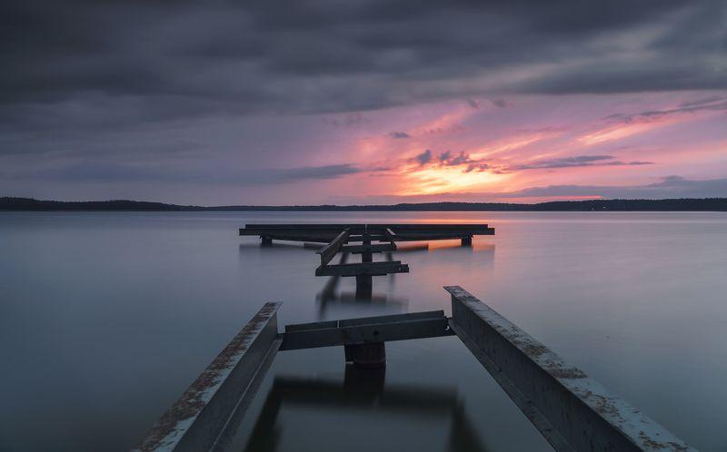 lake, autumn, bridge, clouds, sunset Wycinki lakephoto preview
