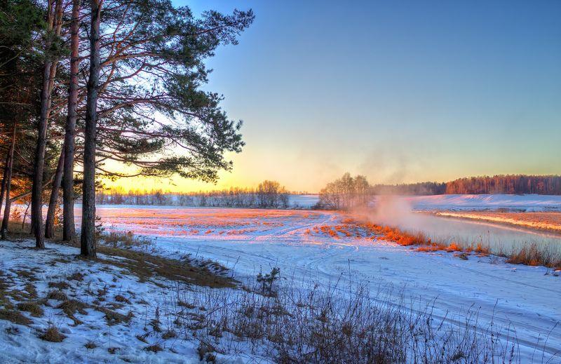 зима, рассвет, река, дымка, Река и рассветphoto preview