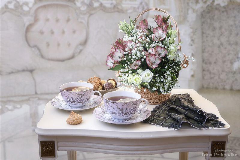 натюрморт, цветы, букет, чай, чайный столик Приглашение на чайphoto preview