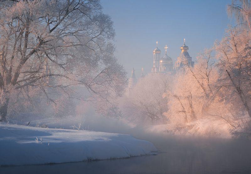 зима, рассвет, река, утро, пейзаж, истра Истринскаяphoto preview
