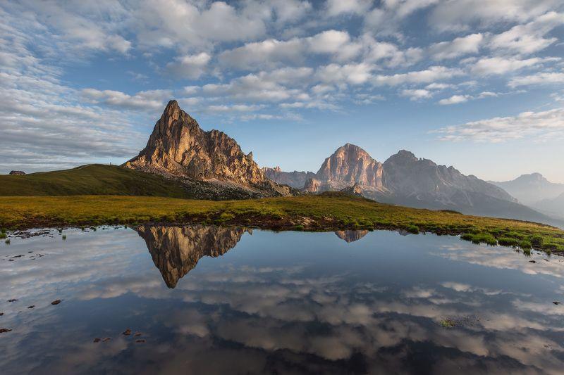 италия, доломиты, горы, облака, восход, природа, вода, отражение, landscape, italy, dolomites, sunrise Утро в Доломитах.photo preview