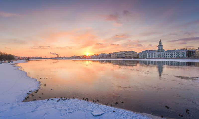 петербург, город, мост, вода, река, рассвет, пейзаж, закат По-зимнему морозный и по-весеннему романтичный мартовский закат..photo preview
