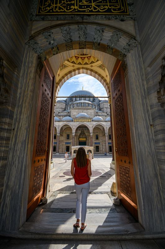 Istanbul; Mosque; Süleymaniye Mosque; Turkey; buildings; city; cityscape; door; girl; historical; light; model; oldcity; oldtown; open; religion; street; streets; town; welcome;  Main door to Süleymaniye Mosquephoto preview